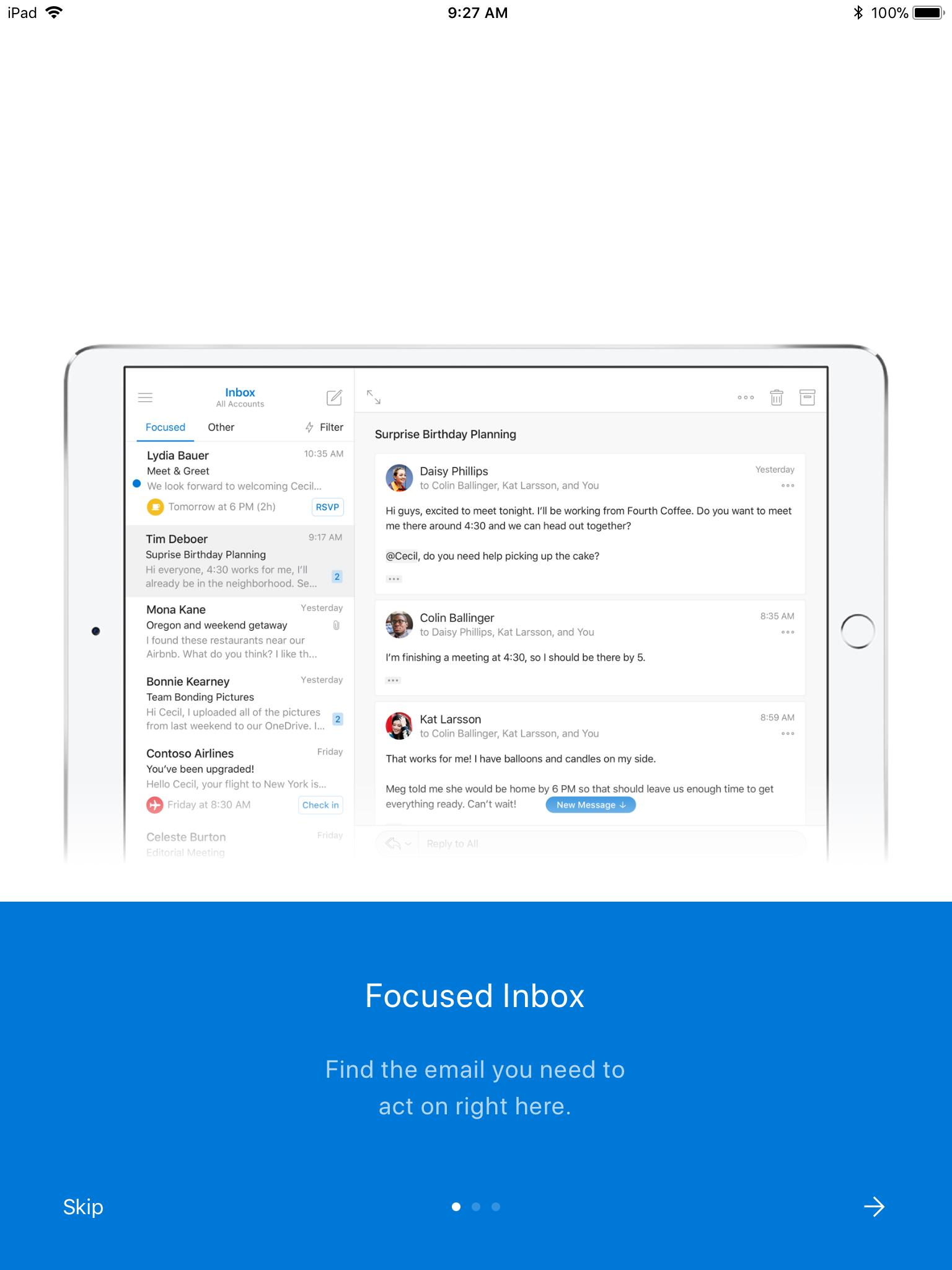 Screenshot of Outlook's Focused Inbox tutorial