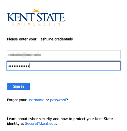 iOS screenshot of KSU sign in page