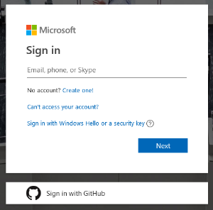 image of the microsoft sign in page. Enter your full Kent State email