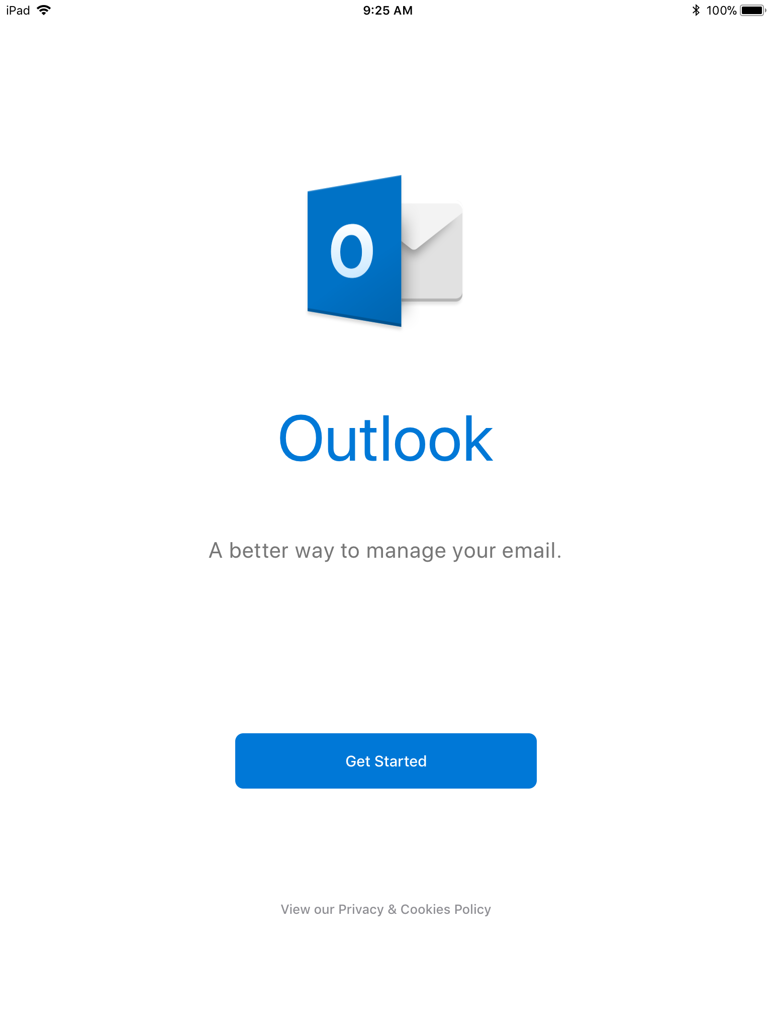 Screenshot of Outlook on first launch