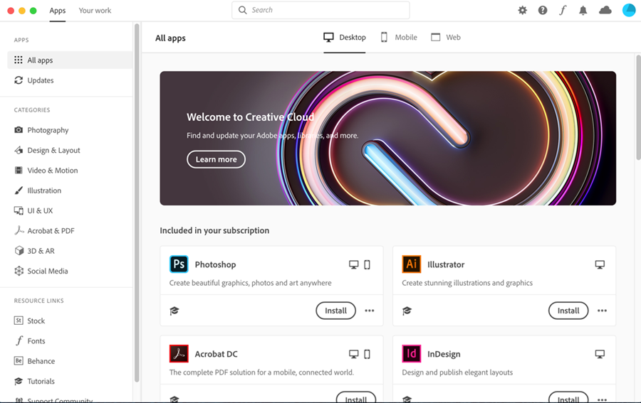 Adobe Creative Cloud desktop app with applications listed and Install buttons available for the applications
