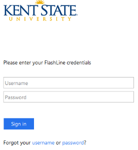 Image of Kent State login page. Enter your FlashLine username and password