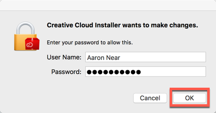 System prompt for username and password with both fields filled and the OK button highlighted
