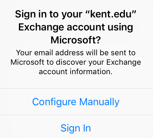 Popup to allow email setting discovery