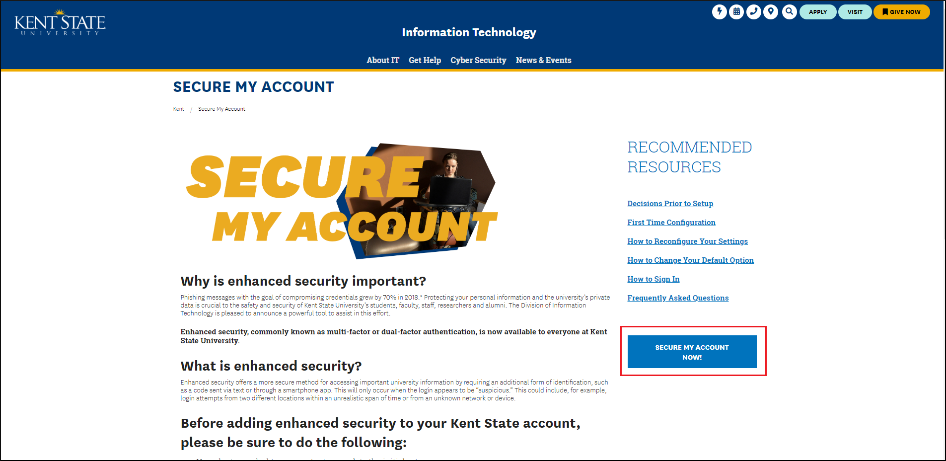 Image of MFA op-in page. Click secure my account now button.