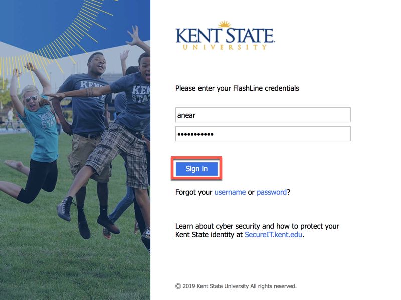 Kent State authentication login screen with username and password fields filled in and the submit button highlighted