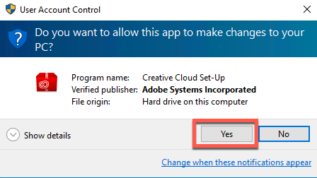 User Account Control Windows Security prompt with the Yes button highlighted