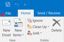 """Screenshot of Outlook """"File"""" menu"""