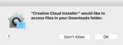 Creative Cloud Installer would like to access your Downloads folder